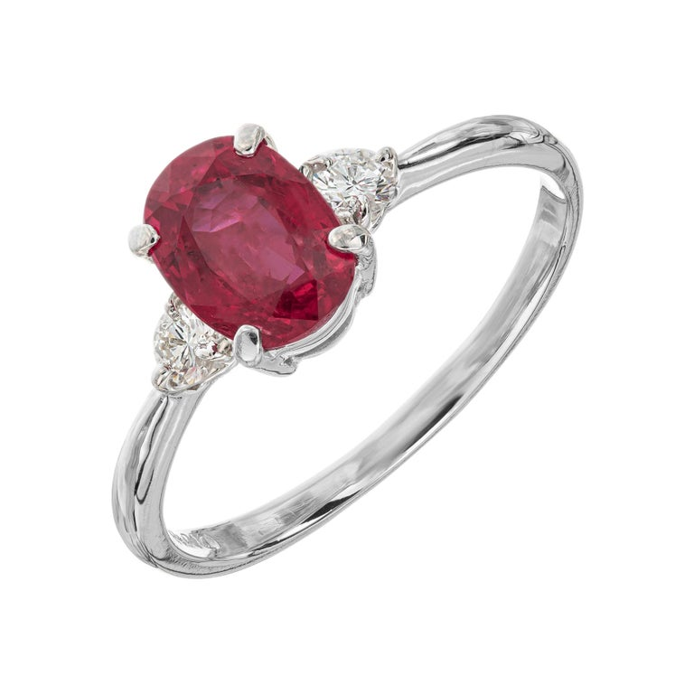 GIA Certified 1.11 Carat Ruby Diamond Platinum Three-Stone Engagement Ring For Sale