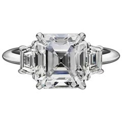 GIA Certified 11.14 Carat Asscher Cut Trapezoid Diamond Engagement Ring VVS2