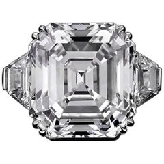 GIA Certified 11.14 Carat Asscher Cut Trapezoid Diamond Engagement Ring VVS2
