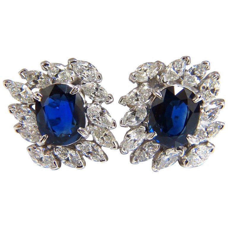 GIA Certified 11.16 Carat Natural Royal Blue Sapphire Diamond Earrings Platinum For Sale