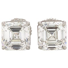 GIA Certified 11.18 Carat Asscher Cut Diamond Stud Earrings