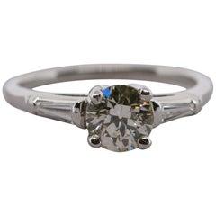 GIA Certified 1.12 Carat Diamond Solitaire Platinum Ring