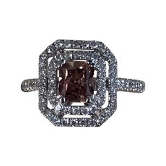 GIA Certified 1.12 Carat Fancy Pink-Brown Radiant Diamond Ring 18 Karat Gold