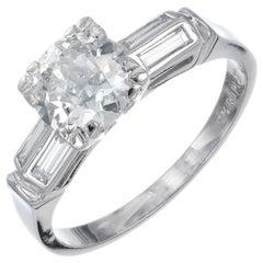 GIA Certified 1.12 Carat Light Yellow Diamond Platinum Engagement Ring