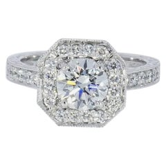 GIA Certified 1.12 Carat Round Diamond Halo Platinum Engagement Ring