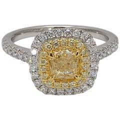 GIA Certified 1.12 Carat W-X VS2 Cushion Center Yellow/White Diamond Halo Ring