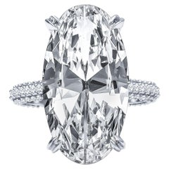 GIA Certified 11.26 Carat Oval Shaped Diamond Platinum Engagement Ring