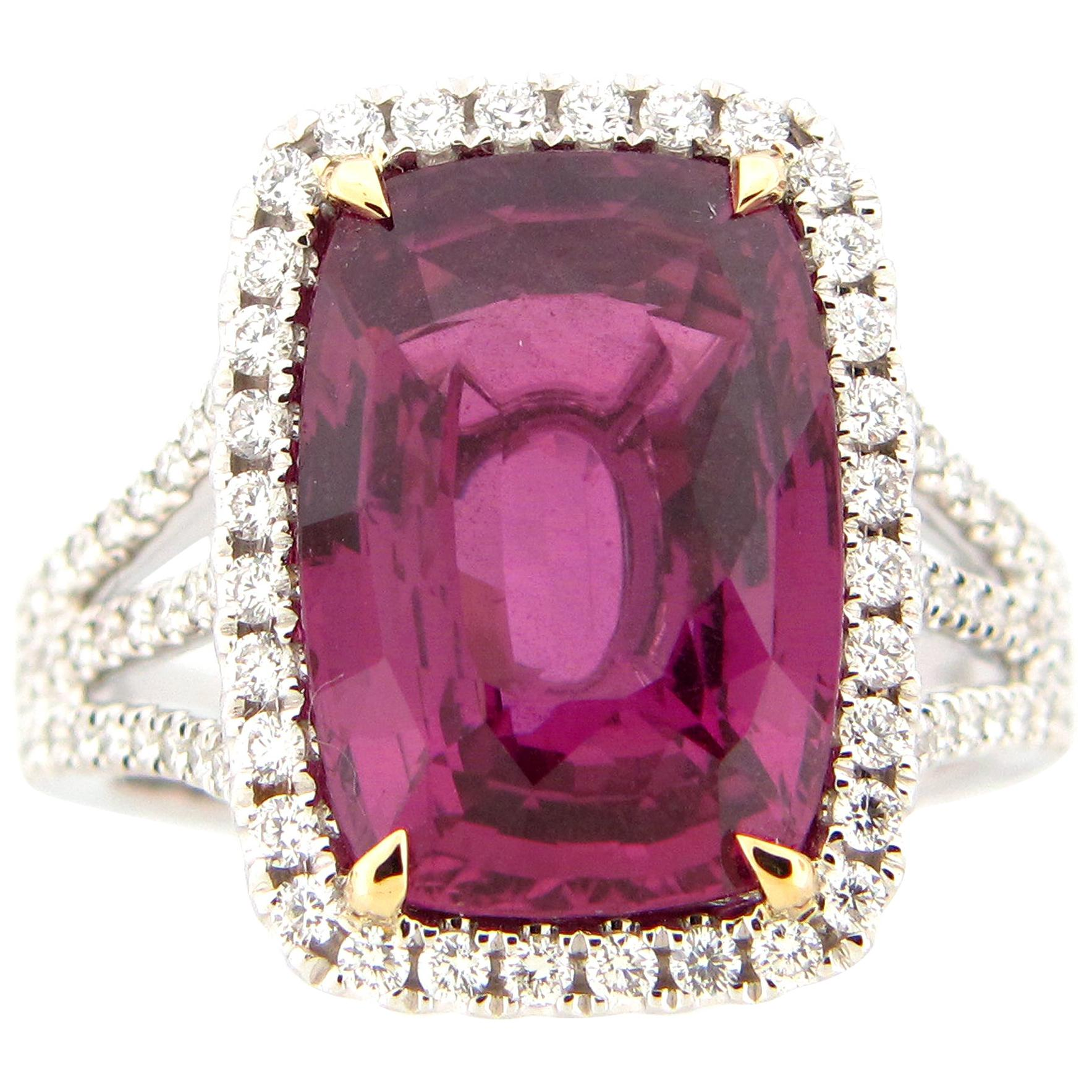 GIA Certified 11.27 Carat Purple Sapphire and Diamond Ring