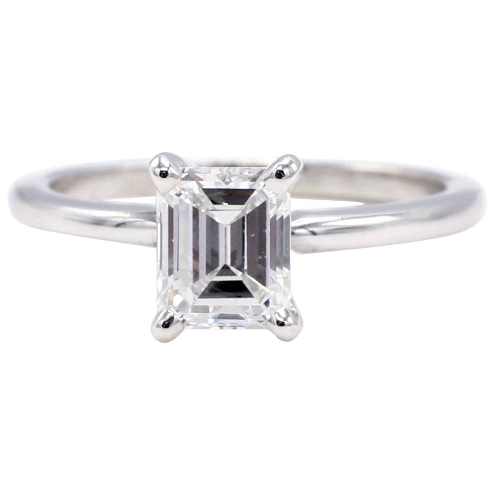 GIA Certified 1.13 Carat Emerald Cut Diamond Solitaire Engagement Ring