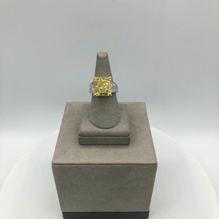 GIA Certified 11.30 Carat Intense Yellow Radiant Cut Diamond Engagement Ring In New Condition For Sale In New York, NY