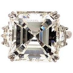 GIA Certified 11.32 Carat Asscher Cut Diamond Ring