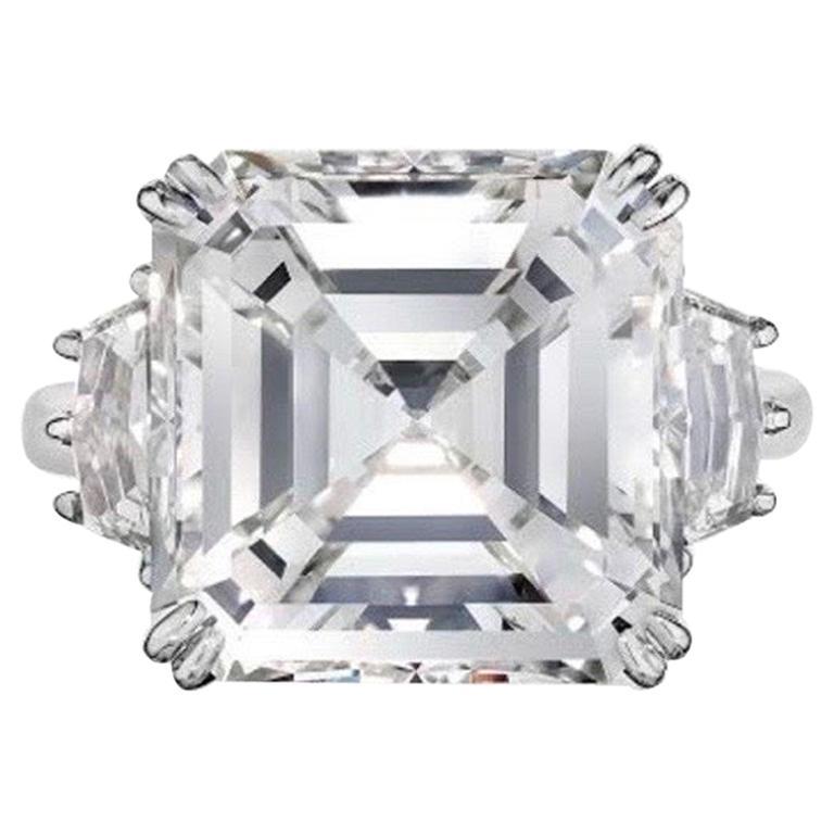 GIA Certified 15 Carat Asscher Cut Diamond Ring