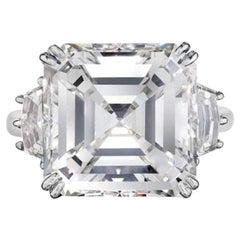 GIA Certified 15 Carat Asscher Cut Diamond Ring