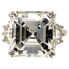 GIA Certified 11.32 Carat J VS2 Asscher Cut Diamond Ring