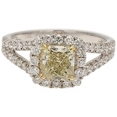 GIA Certified 1.14 Carat Fancy Yellow Radiant Cut Halo Ring 18 Karat Gold
