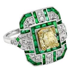 GIA Certified 1.15 Carat Diamond with French Cut Emerald Diamond Ring