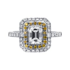 GIA Certified 1.15 Carat Double Halo Diamond Engagement Ring