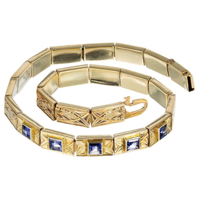 GIA Certified 1.15 Carat Montana Sapphire Yellow Gold Art Deco Bracelet For Sale