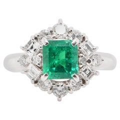 GIA Certified 1.15 Carat No Oil Colombian Emerald and Diamond Ring in Platinum
