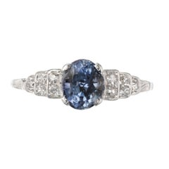 GIA Certified 1.15 Carat Oval Sapphire Diamond Platinum Engagement Ring