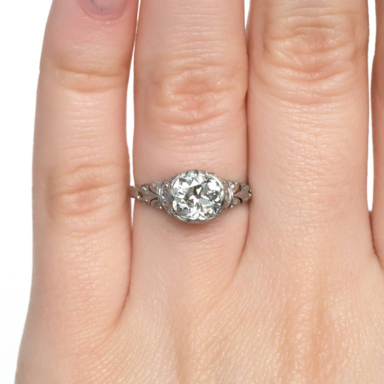 Gia Certified 1.16 Carat Diamond Platinum Engagement Ring For Sale 1