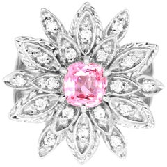 GIA Certified 1.16 Carat Padparadscha Sapphire and White Diamond Flower Ring