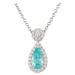 GIA Certified 1.16 Carat Paraiba Tourmaline with Diamonds Pendant Necklace 18k