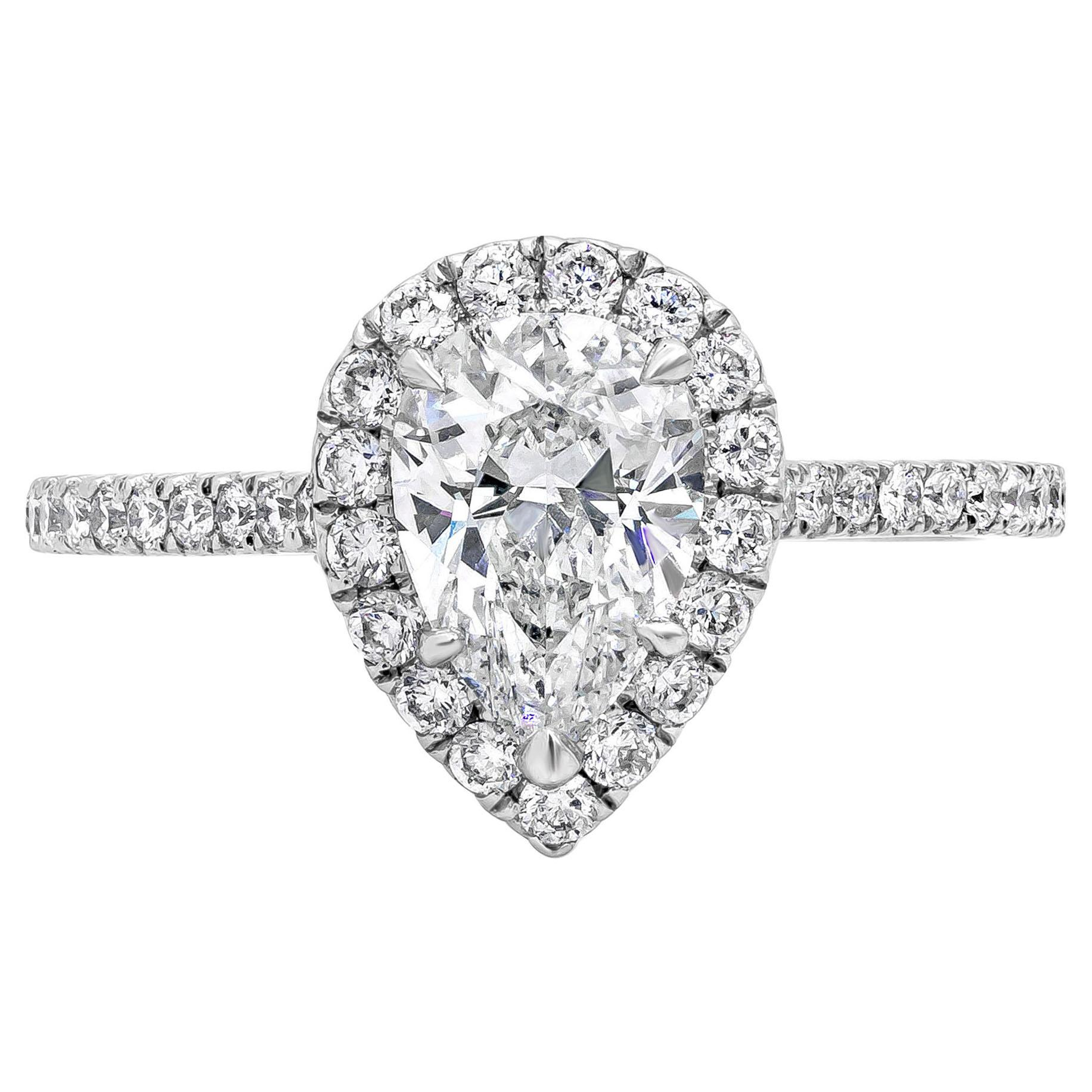 Roman Malakov, GIA Certified 1.16 Carat Pear Shape Diamond Halo Engagement Ring