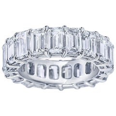 GIA Certified 11.69 Carat Emerald Cut Diamond Eternity Band