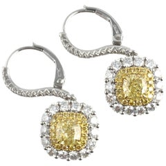 GIA Certified 1.17 Carat Natural Fancy Yellow Lever-Back Hoop Earrings with Halo