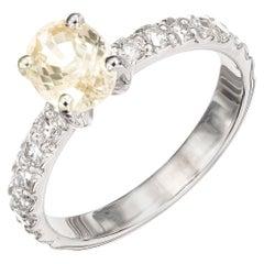GIA Certified 1.17 Carat Oval Yellow Sapphire Diamond Platinum Engagement Ring