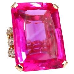 GIA Certified 117.45 Carat Lab Hot Pink Sapphire Diamonds Ring 14 Karat