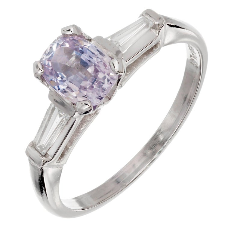 GIA Certified 1.18 Carat Light Purple Sapphire Diamond Platinum Engagement Ring
