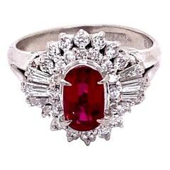 GIA Certified 1.18 Carat Natural Burma Ruby 18 Karat White Gold Vintage Ring