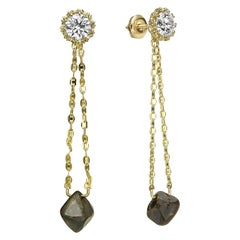 GIA Certified 11.83 Carat TW Diamond Stud Earrings with Detachable Drop Chain