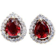 GIA Certified 1.19 and 1.28 Carat Natural Ruby Diamond Earrings 18 Karat Cluster