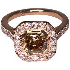 GIA Certified 1.19 Carat Fancy Orange Brown Radiant Cut Diamond Cocktail Ring