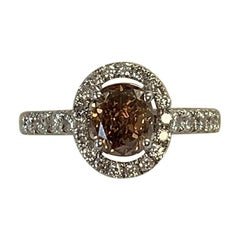 GIA Certified 1.19 Carat Natural Fancy Brown Oval Diamond Ring 18 Karat Gold
