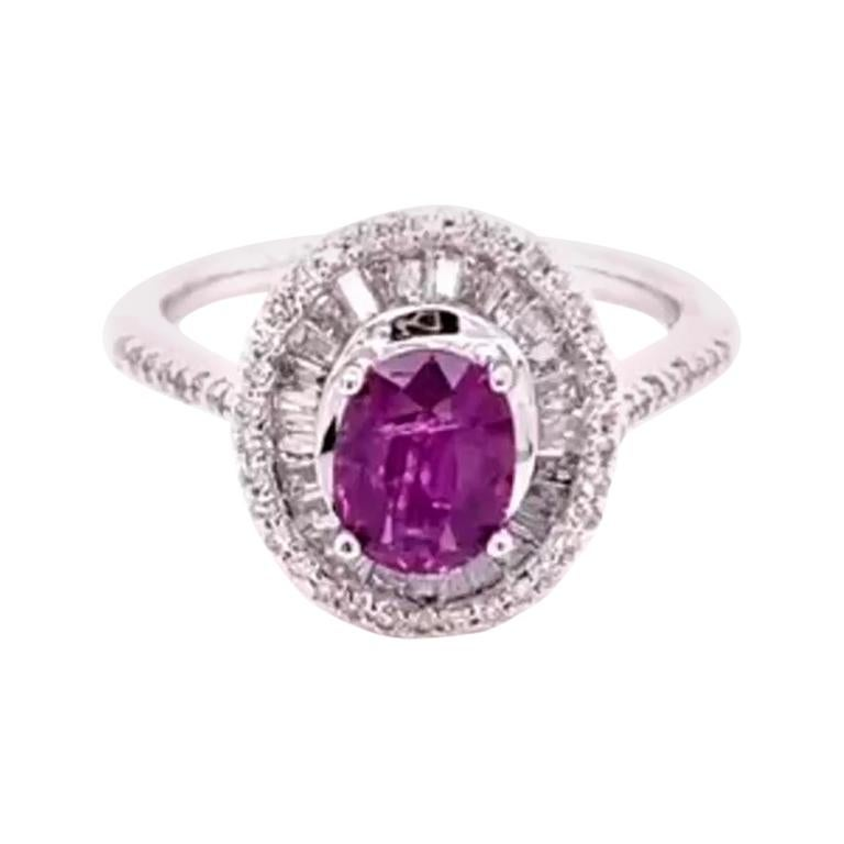 GIA Certified 1.19 Carat Natural No Heat Kashmir Ruby 14 Karat White Gold Ring