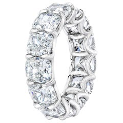 GIA Certified 11.90 Carat '90pt each' Cushion Cut Diamond Eternity Band Ring
