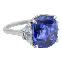 GIA Certified 11.92 Carat No Heat Sapphire in Platinum and Diamond Ring