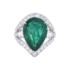 Laviere GIA Certified 11.96 Zambian Emerald and Diamond Ring