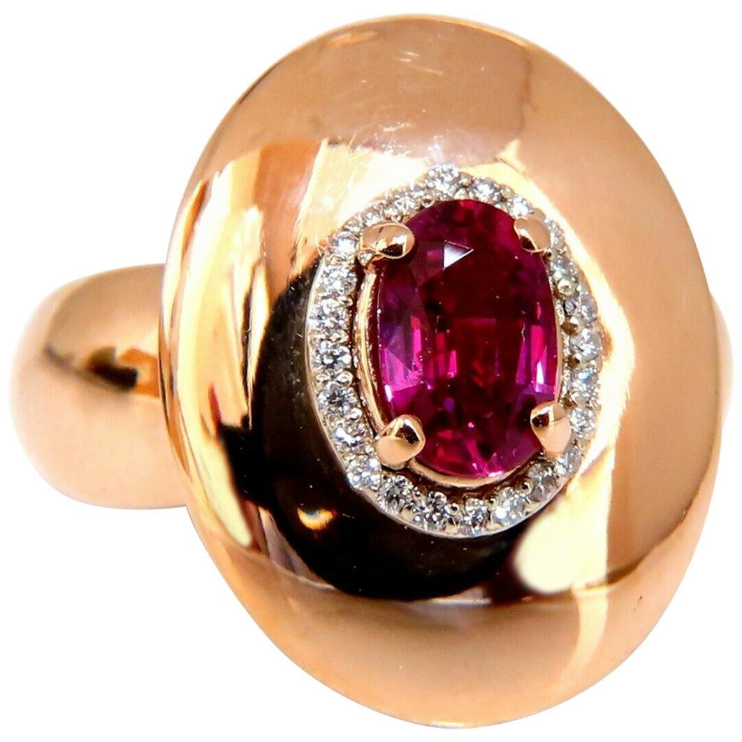 GIA Certified 1.19 Carat Oval Cut Red No Heat Ruby Diamonds Ring 14 Karat