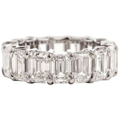 GIA Certified 12 Carat Emerald Cut Diamond Eternity Band Ring Platinum
