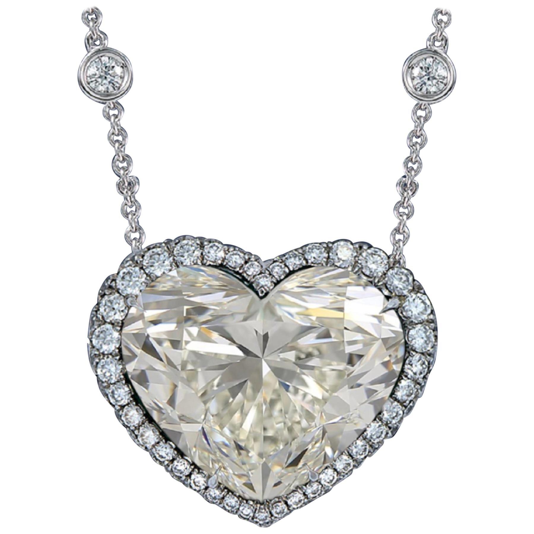 GIA Certified 12 Carat Heart Shape Diamond Pendant Platinum Necklace