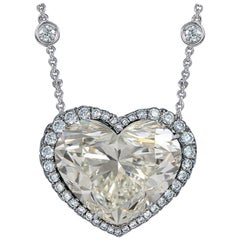 GIA Certified 12 Carat Heart Shape Diamond Pendant Platinum Necklace