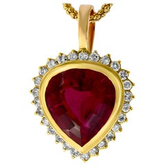 GIA Certified 12 Carat Pink Tourmaline and Diamond Pendant Necklace Enhancer
