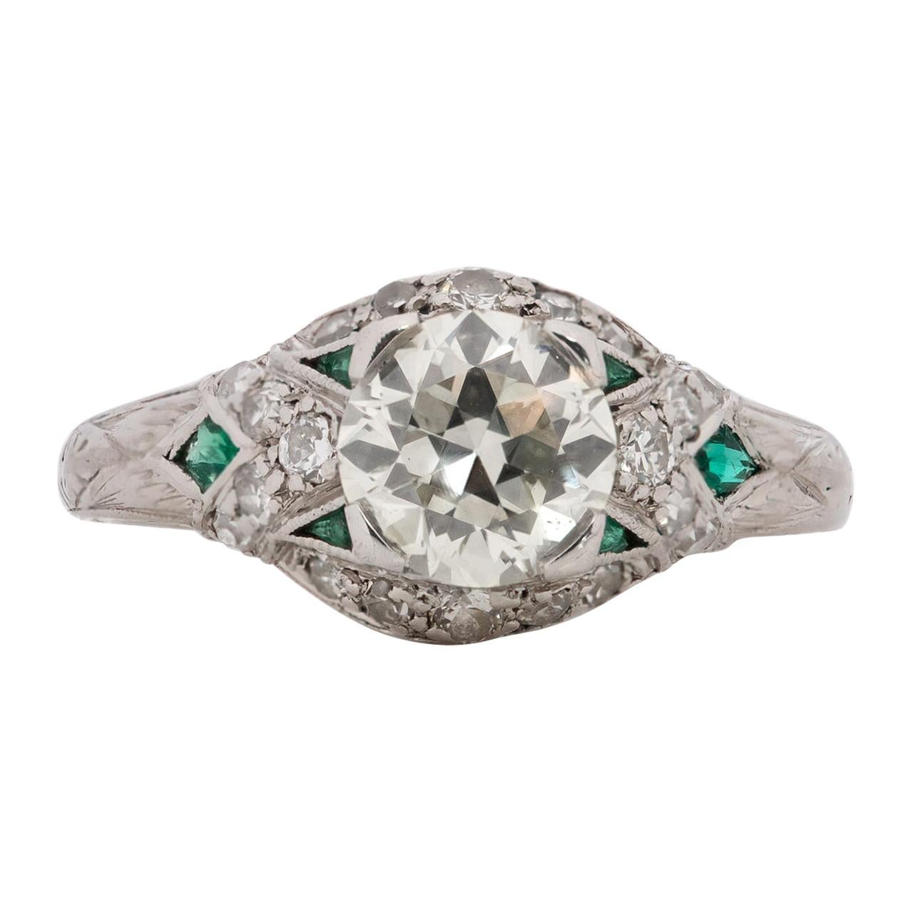 GIA Certified 1.20 Carat Art Deco Diamond Platinum Engagement Ring