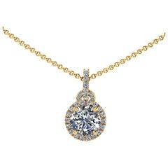 GIA Certified 1.20 Carat Diamond Halo 18 Karat Yellow Gold Necklace