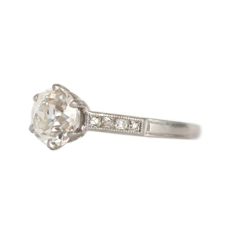 Item Details:  Ring Size: 6.5 Metal Type: Platinum  Weight: 3.6 grams  Center Diamond Details GIA CERTIFIED Center Diamond - Certificate # 1196266432  Shape: Old European Cut  Carat Weight: 1.20 Carat Color: J Clarity: SI2  Side Stone Details: